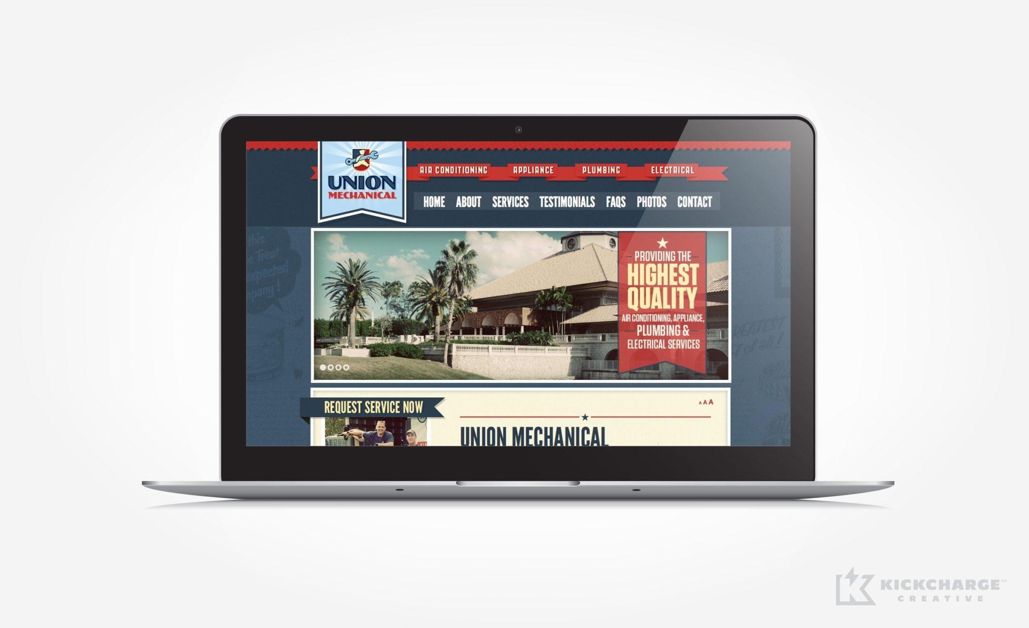 Website design for Union Mechanical.