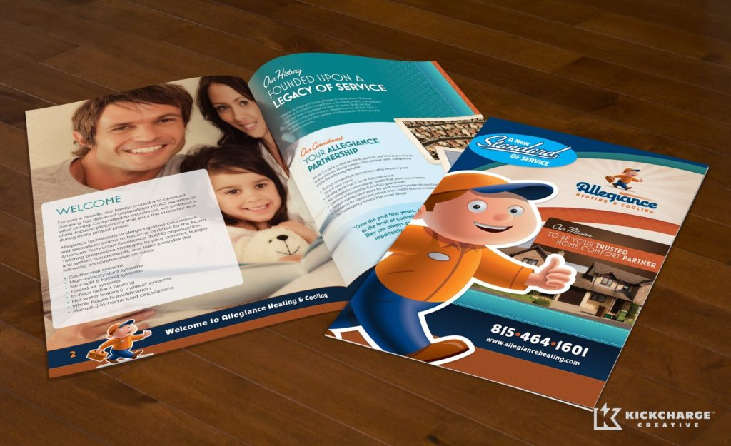 12-page brochure design, layout, copywriting and printing for Allegiance Heating & Cooling.