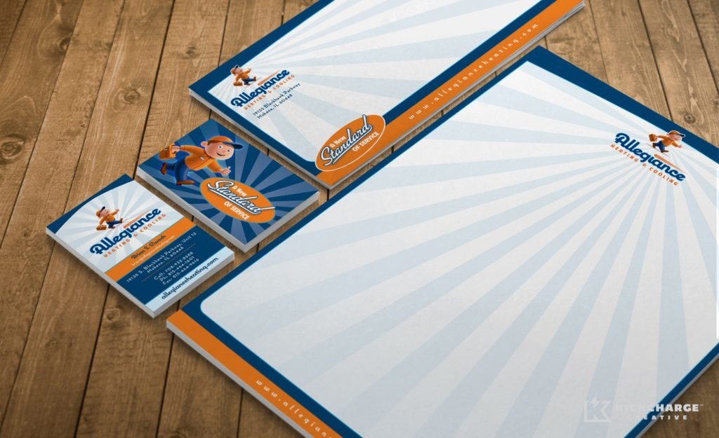 Stationery design and printing for Allegiance Heating & Cooling.