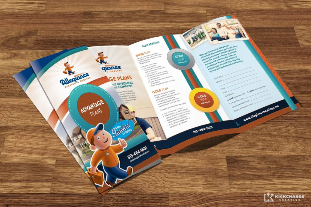 Annual service agreement brochure design, layout and copywriting for Allegiance Heating & Cooling.