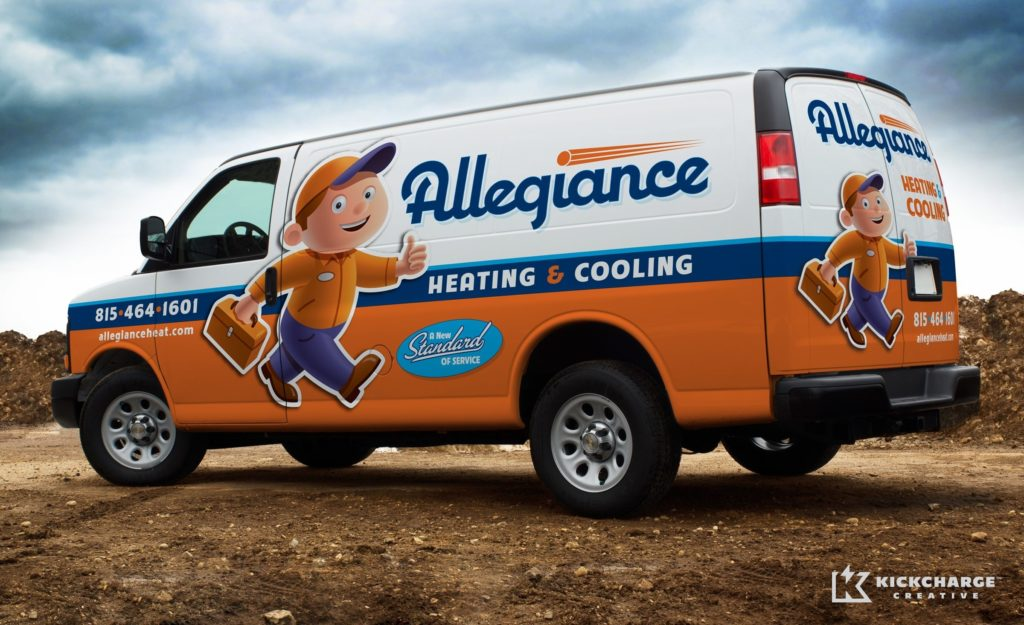Award-winning vehicle advertising, branding, and truck wrap design for this HVAC contractor. Awarded an HVACR Magazine Tops in Trucks Winner.