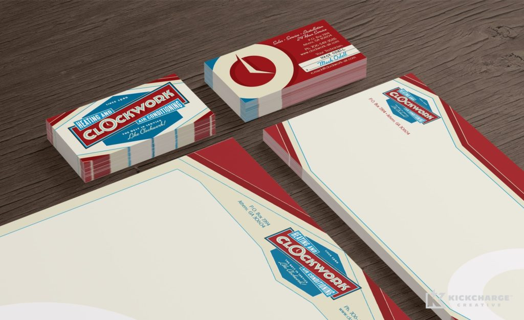 Stationery design and printing for Clockwork Heating and Air Conditioning.