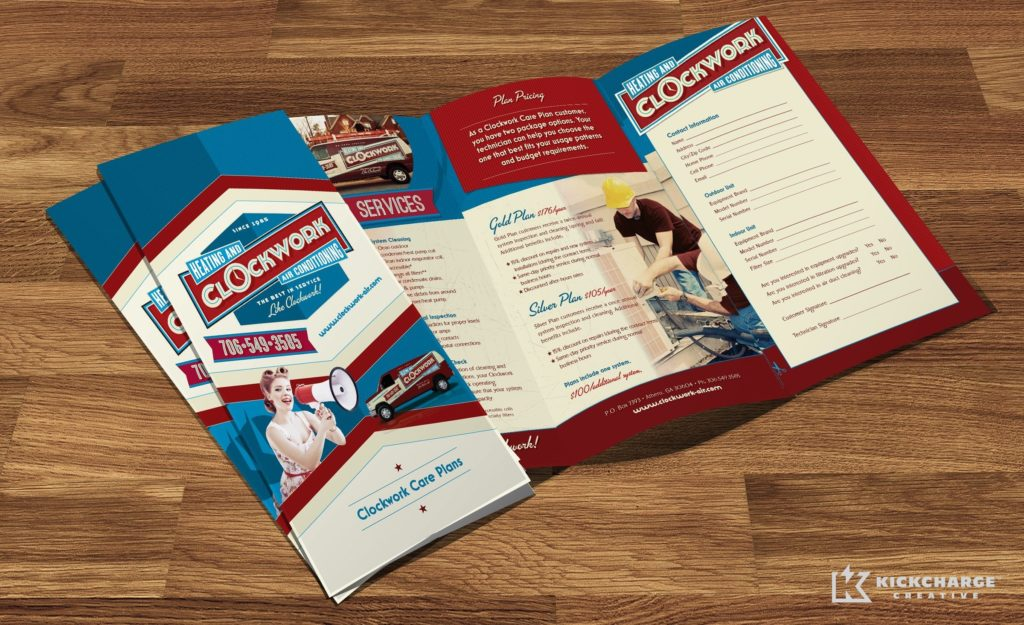 Annual service agreement brochure for Clockwork Heating and Air Conditioning.