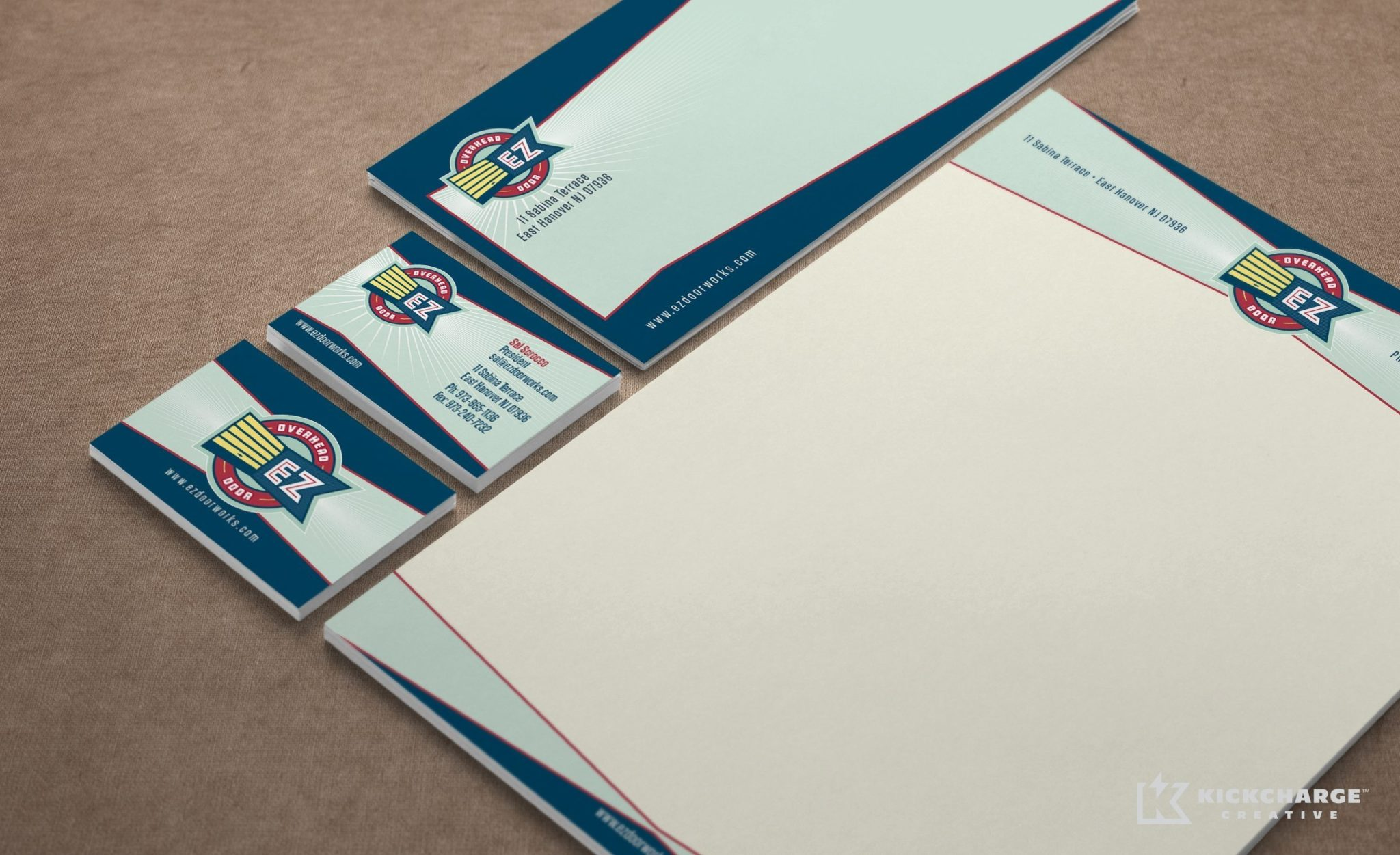 Stationery design and printing for EZ Overhead Door.