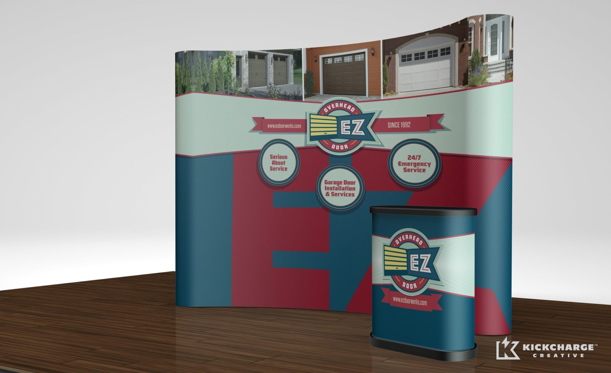 Trade booth design for EZ Overhead Door.