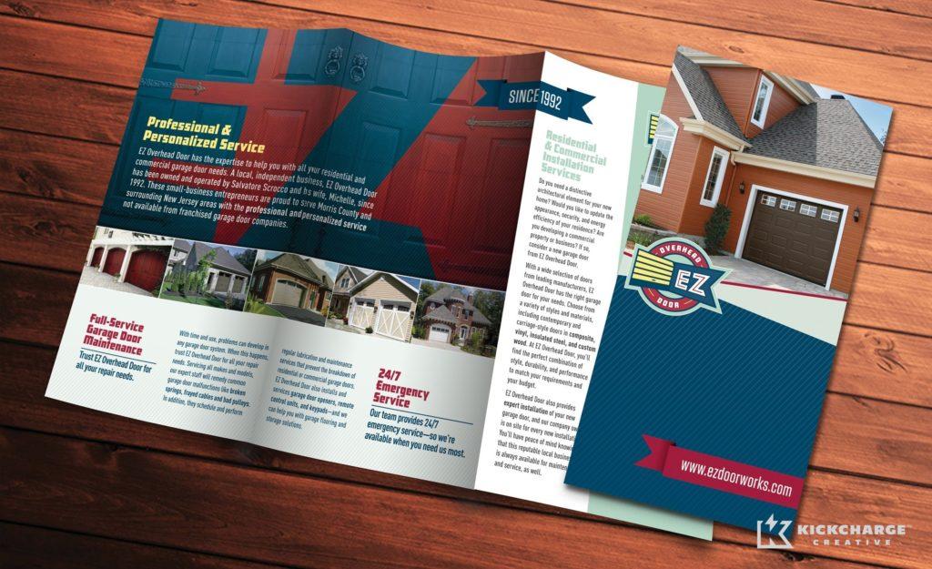 Trifold brochure design for EZ Overhead Door.