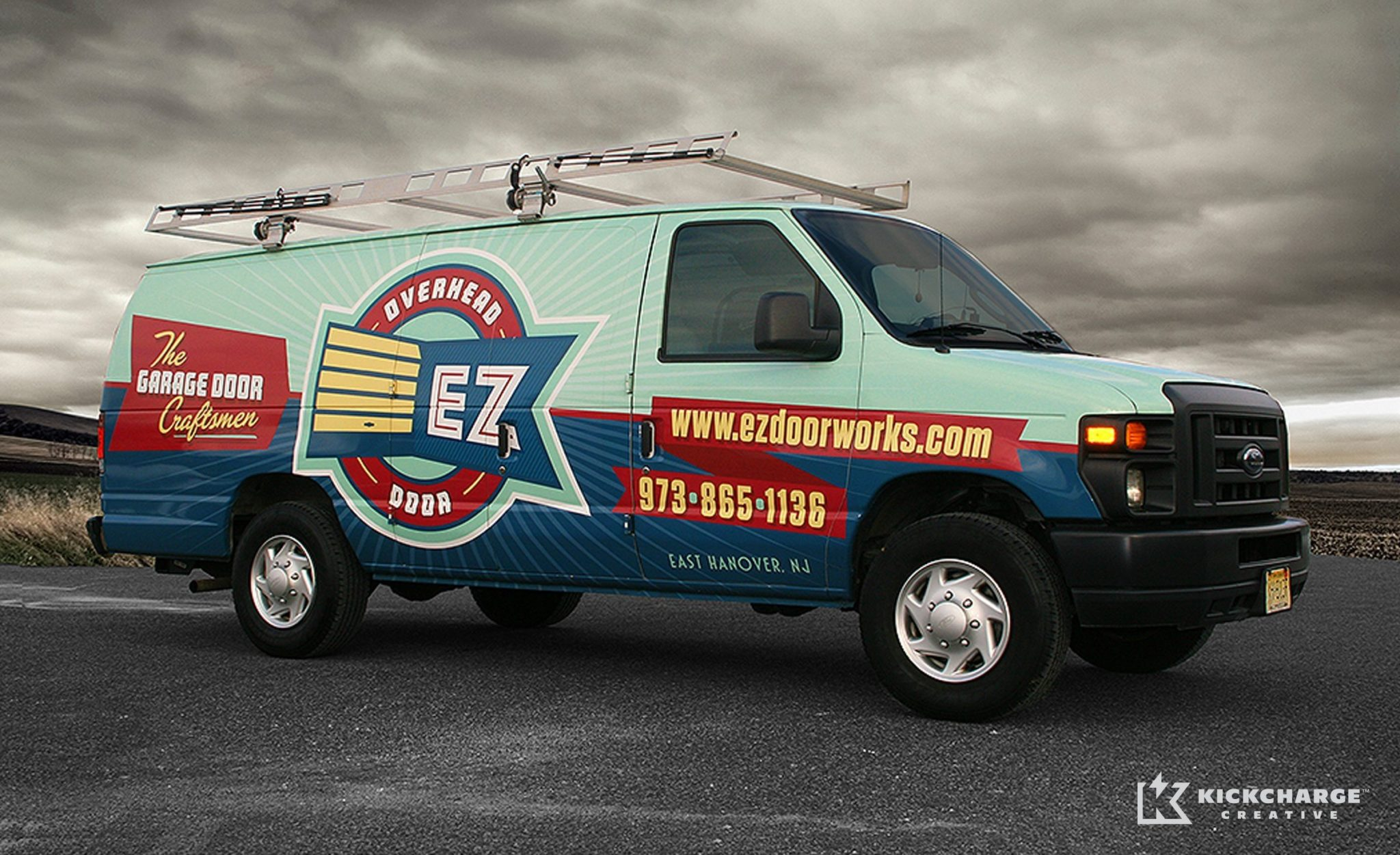 Brand identity and truck wrap design for a garage door installation company in East Hanover, NJ.