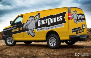 Award-winning mascot design and fleet branding on this retro themed truck wrap design for this NJ-based HVAC contractor. Gold Award 2012 Art Directors Club of NJ