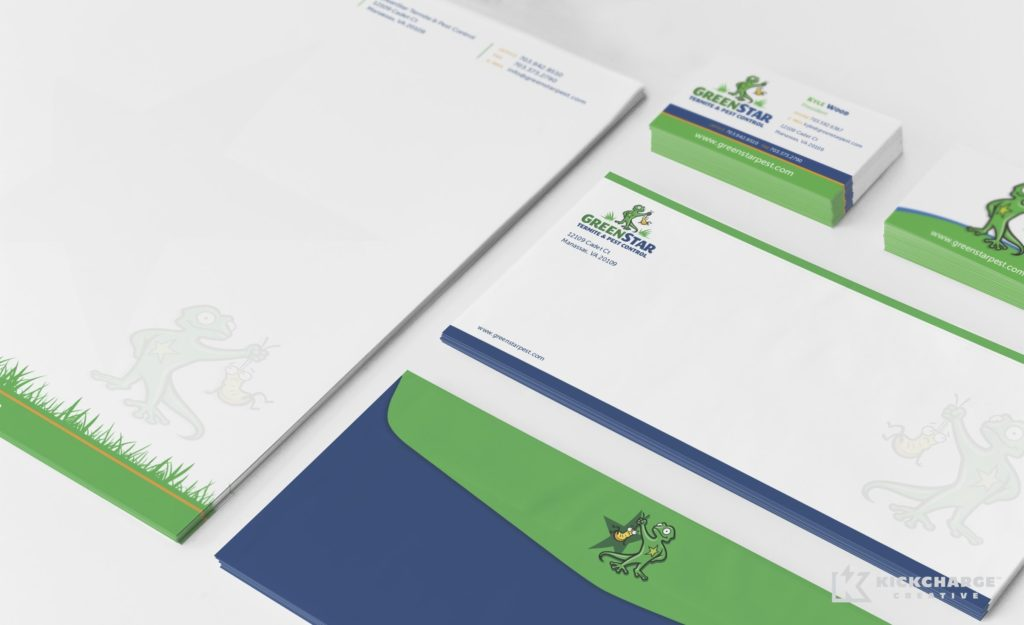 Stationery design and printing for GreenStar Pest Control.