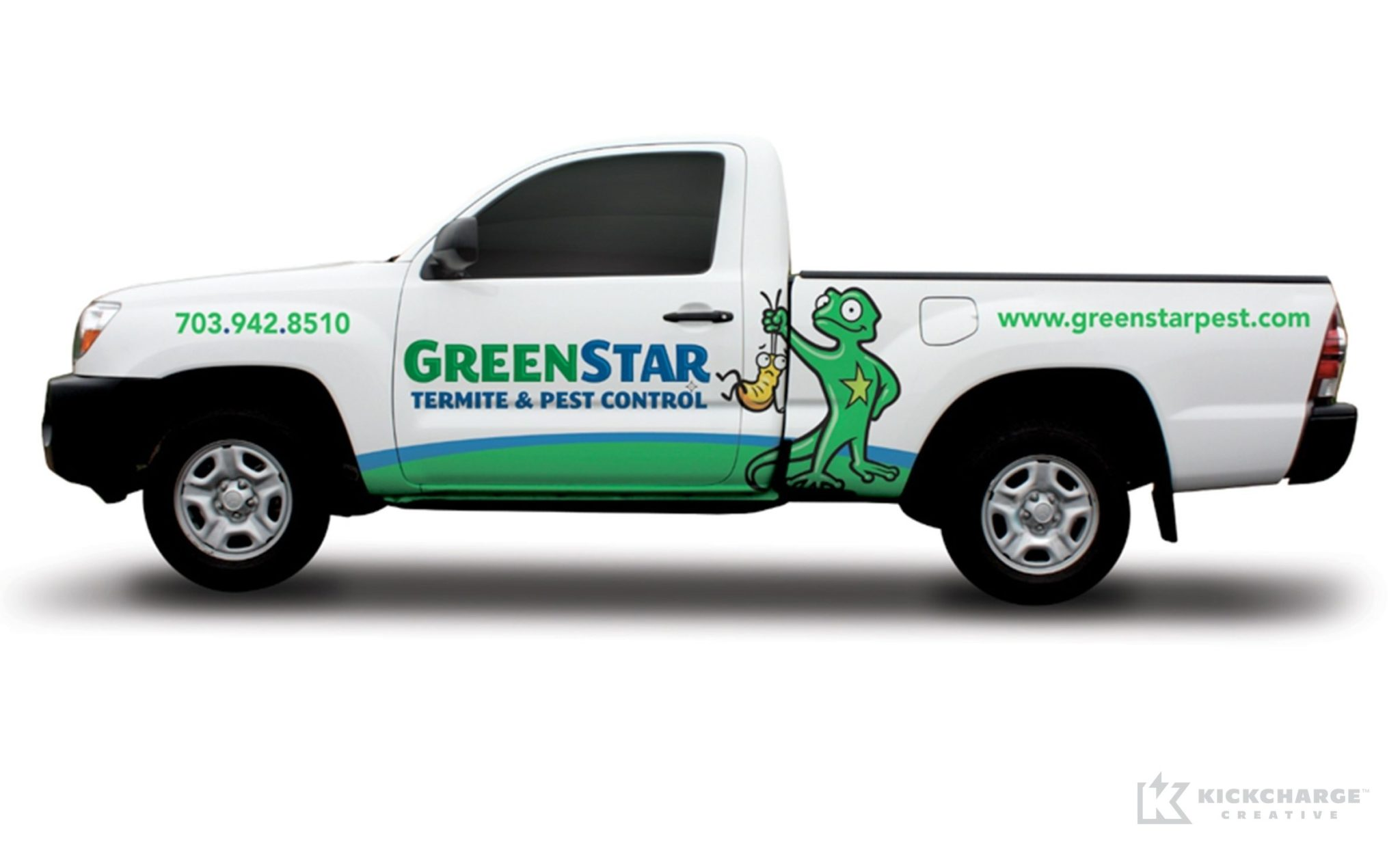 Vehicle wrap design for GreenStar Pest Control.