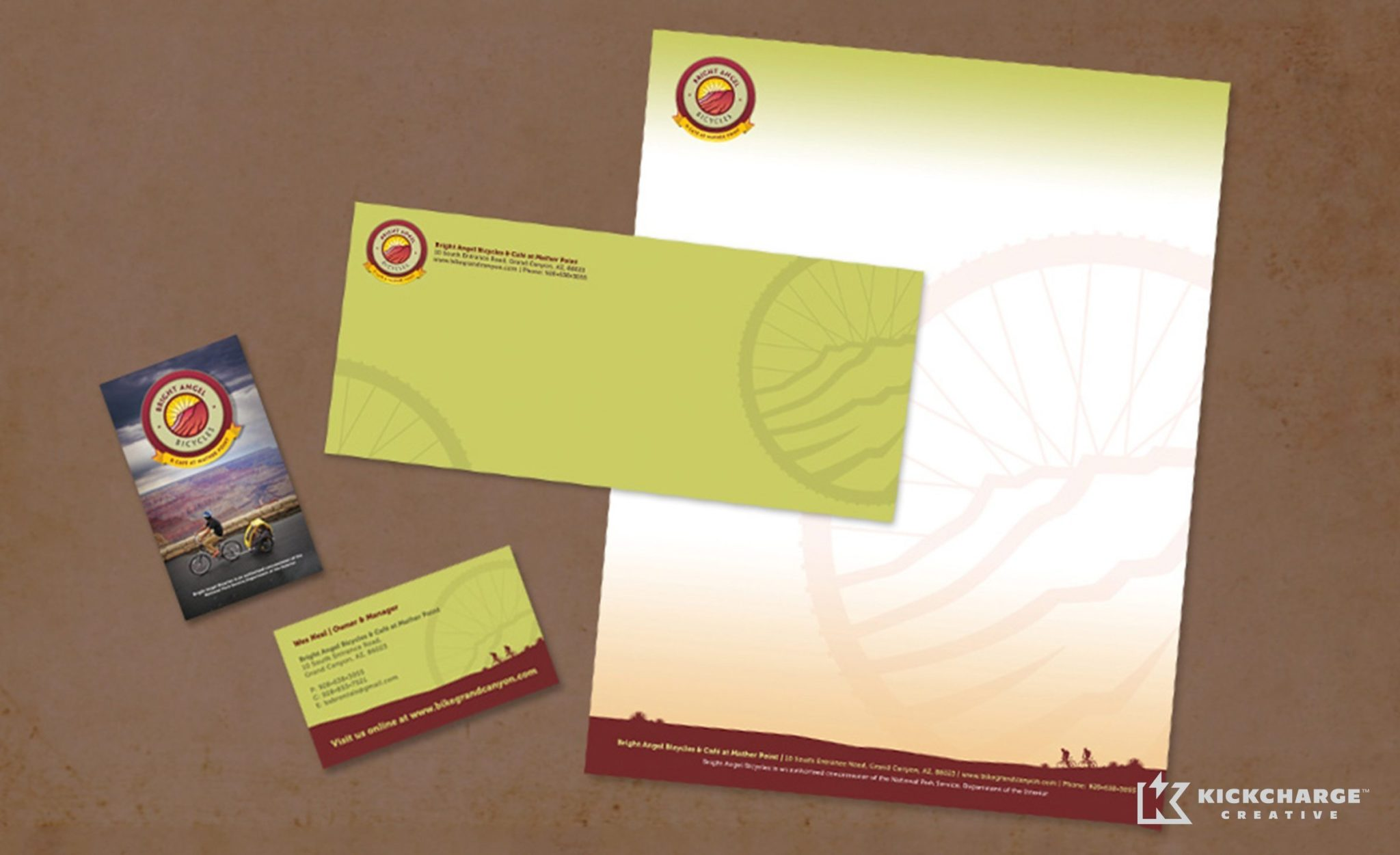 Stationery design for a company that offers bicycle rentals and tours in the Grand Canyon.