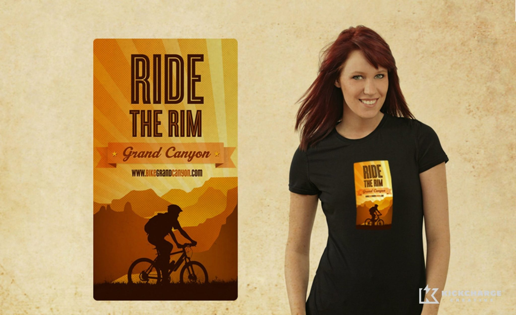 Shirt design for a company that offers bicycle rentals and tours in the Grand Canyon.