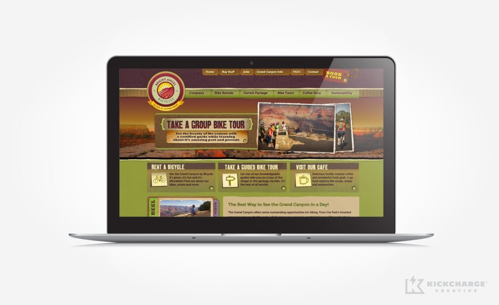Web design for a company that offers bicycle rentals and tours in the Grand Canyon.