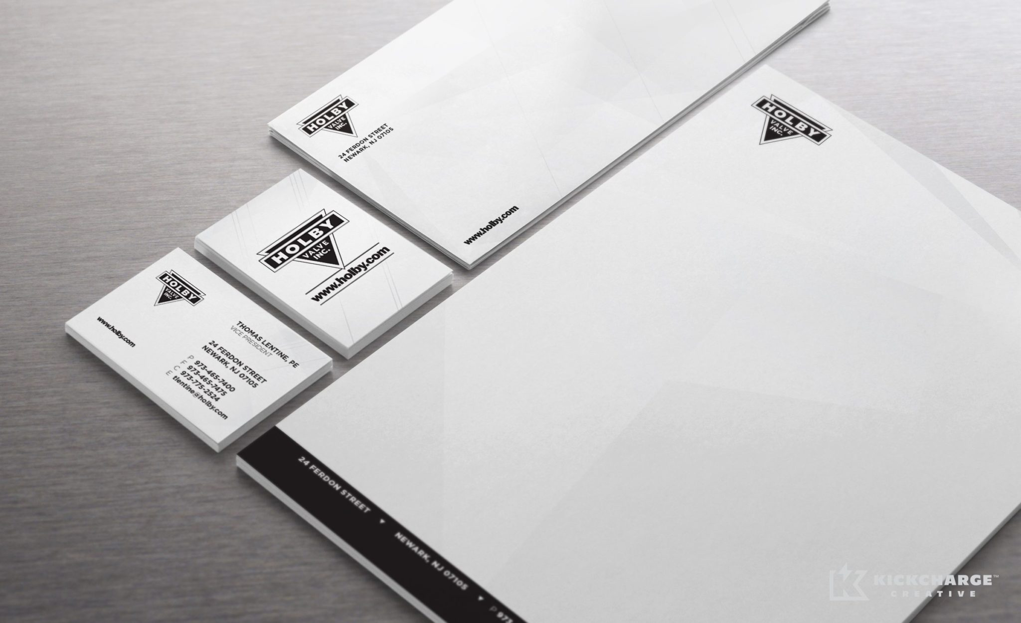 Stationery design and printing for Holby Valve.