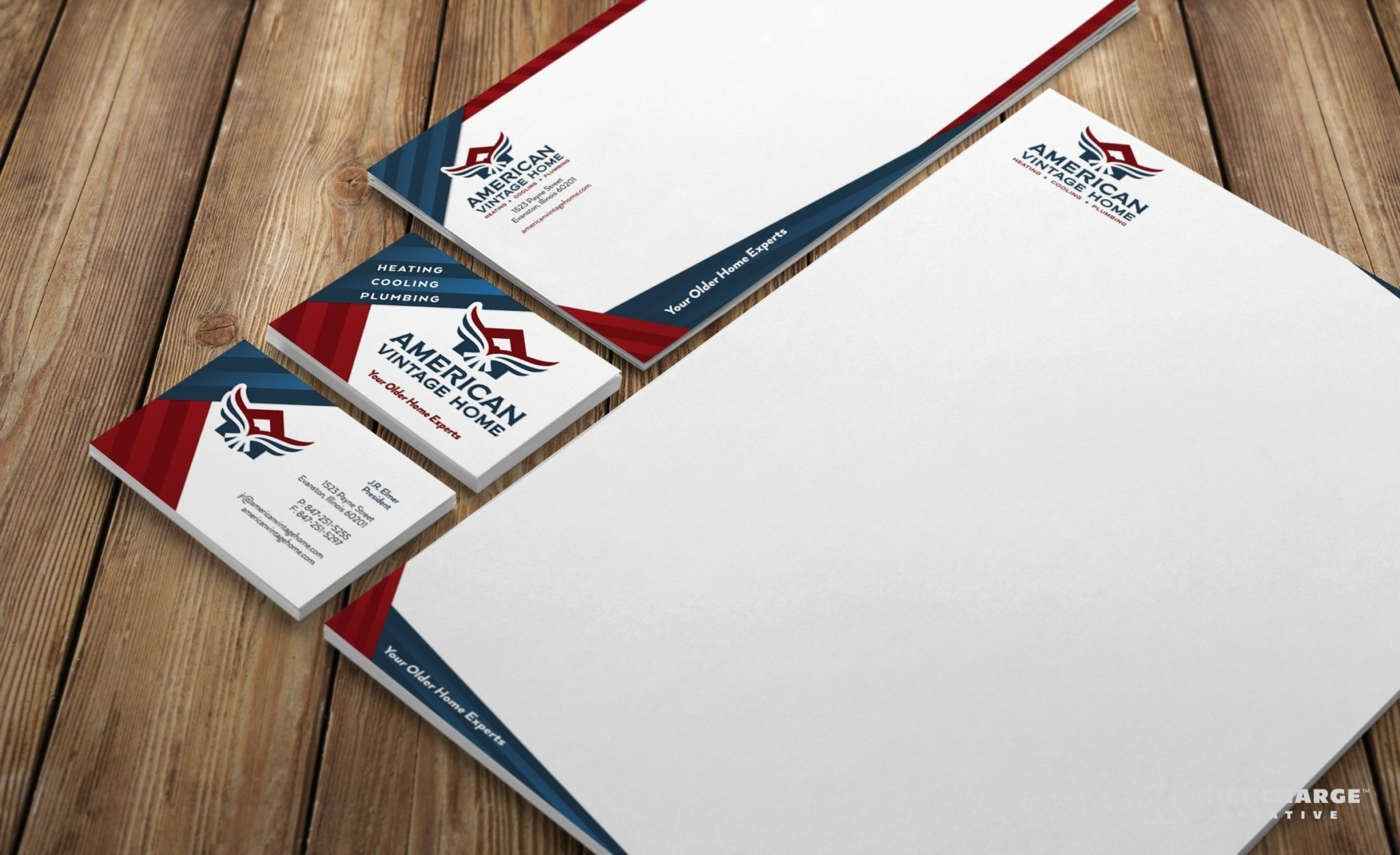 Stationery design for American Vintage Home, an Illinois-based HVAC contractor.