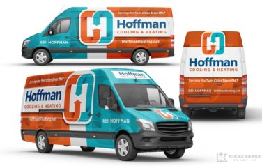 Best truck wraps, ehicle wrap design for Hoffman Cooling & Heating, an HVAC contractor in Minnesota.