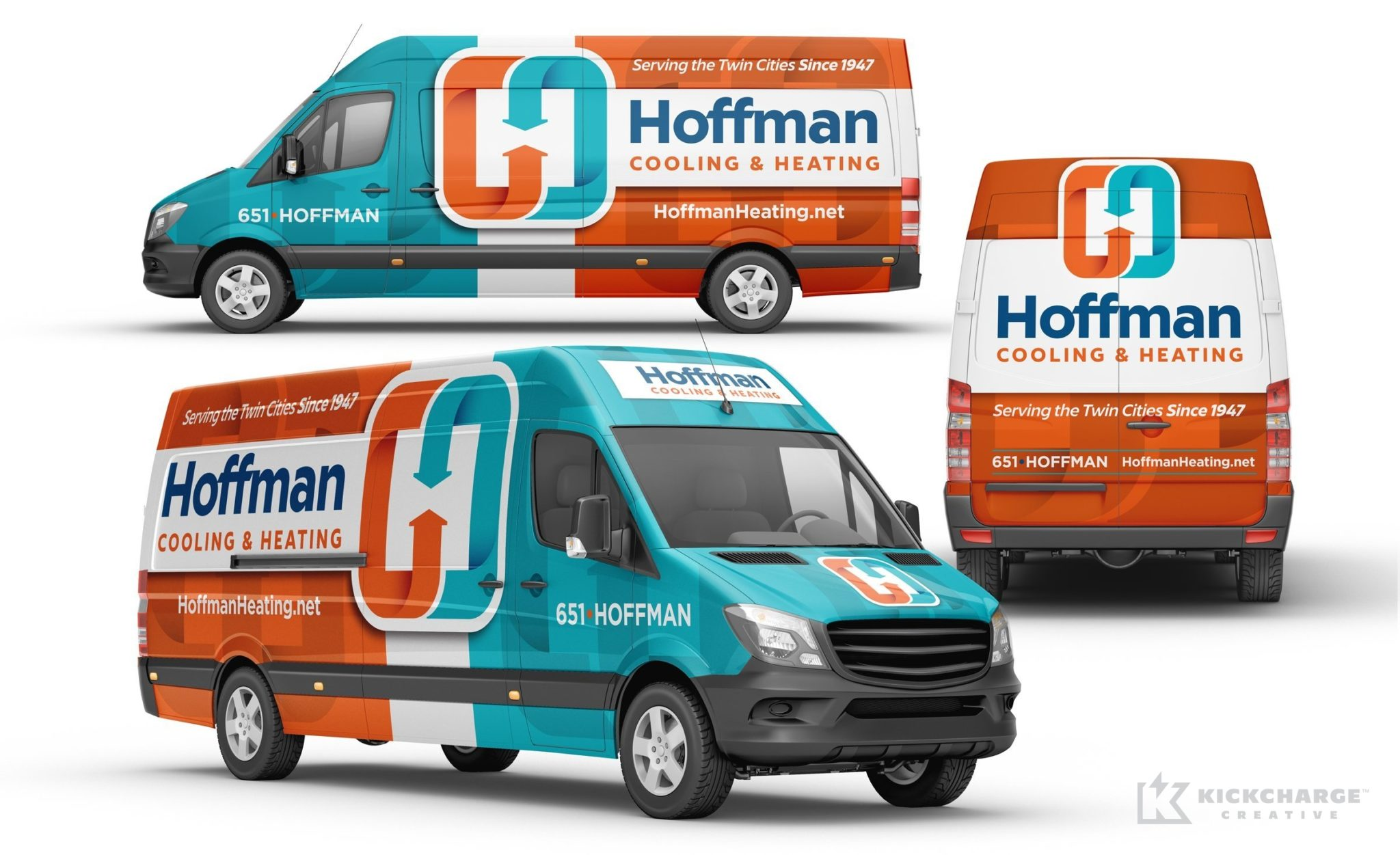 Vehicle wrap design for Hoffman Cooling & Heating, an HVAC contractor in Minnesota.