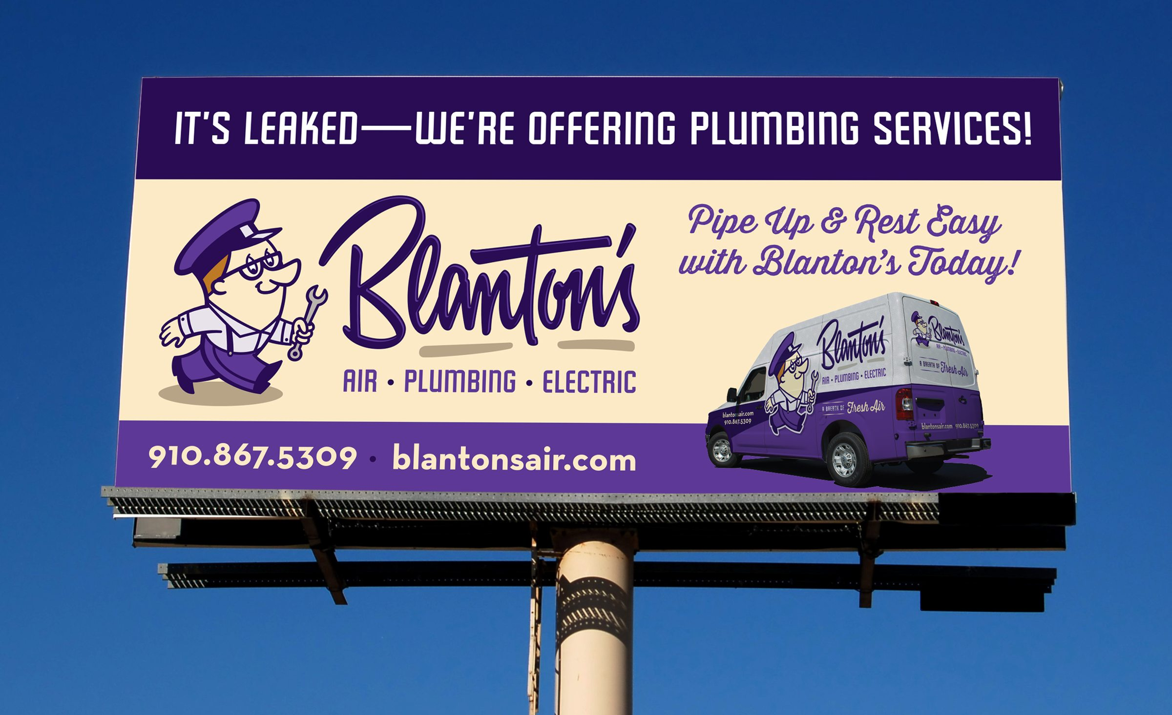 Billboard design for Blanton's Air, Plumbing & Electric.