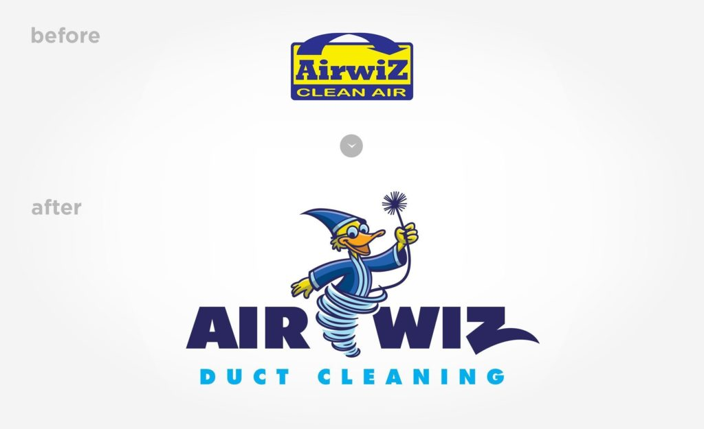 Before and after logo design for this duct cleaning company.