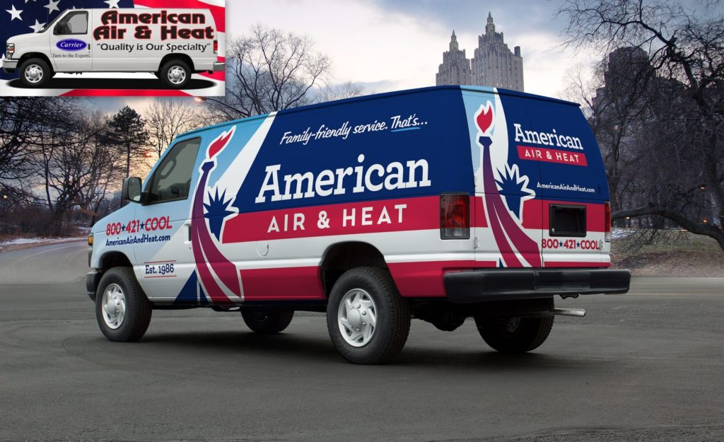 Before and after truck wrap design for this Florida-based HVAC company.
