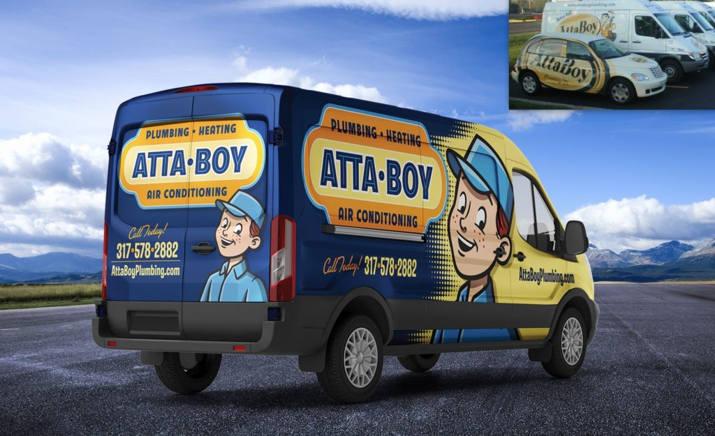 Before and after truck wrap design for this plumbing company based out of Indianapolis.