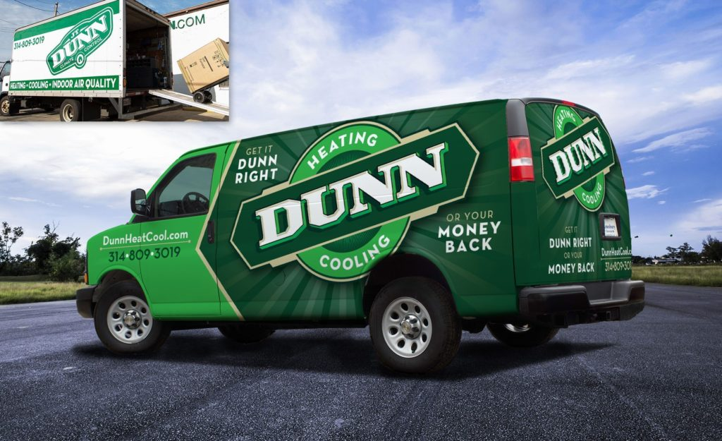 Before and after vehicle wrap design for this St. Louis-based heating and air contractor.