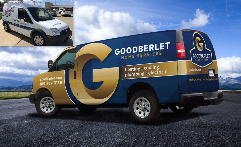 Before and after vehicle wrap design for this HVAC, plumbing & electrical contractor.