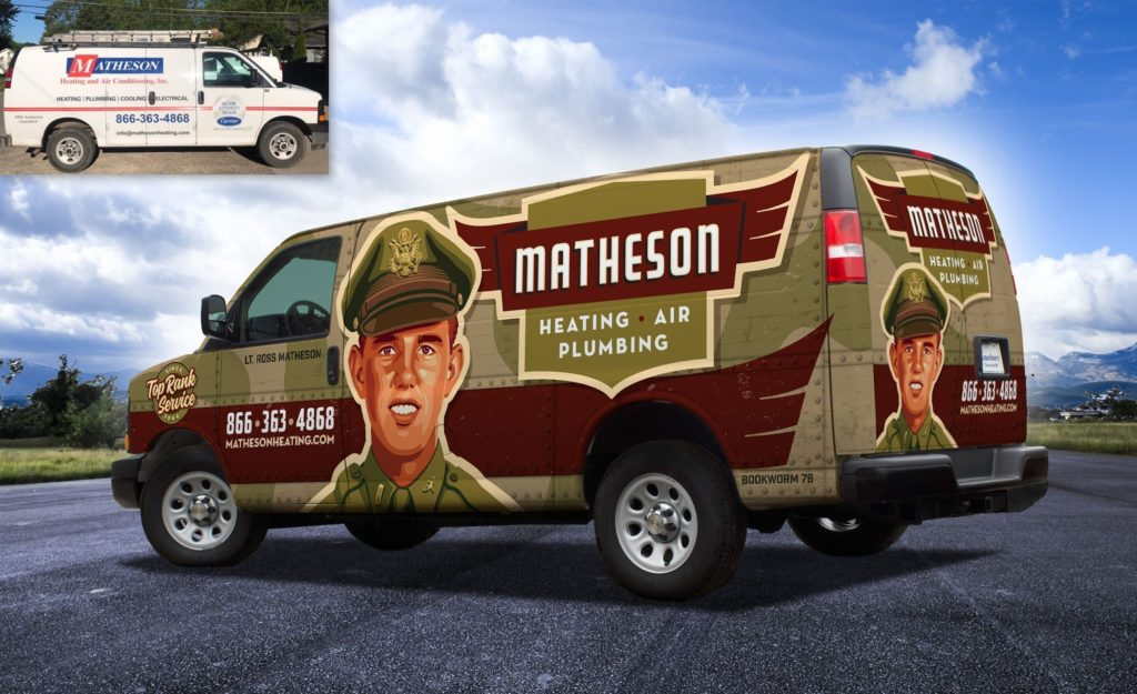 Before and after truck wrap design for Matheson Heating, Air & Plumbing.
