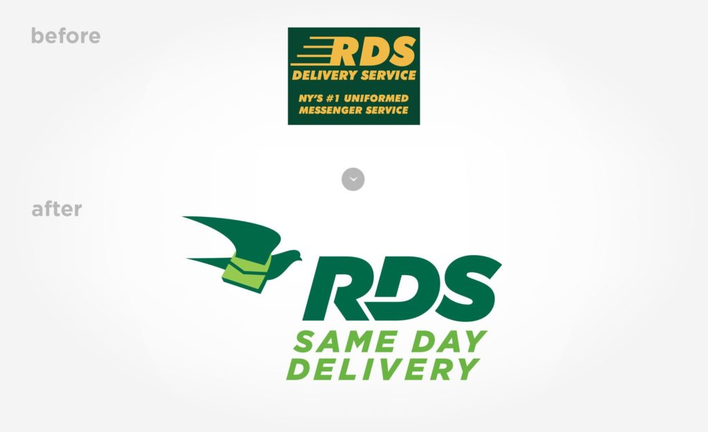 Before and after logo design for this NYC-based delivery company.