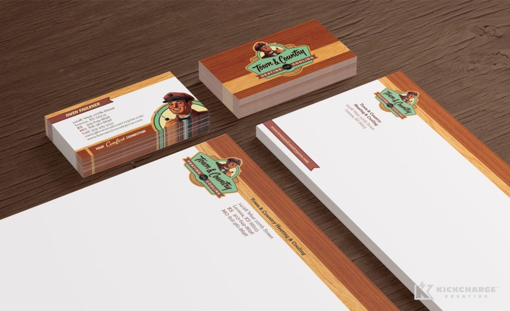 Stationery design and printing for Town & Country Heating and Cooling.
