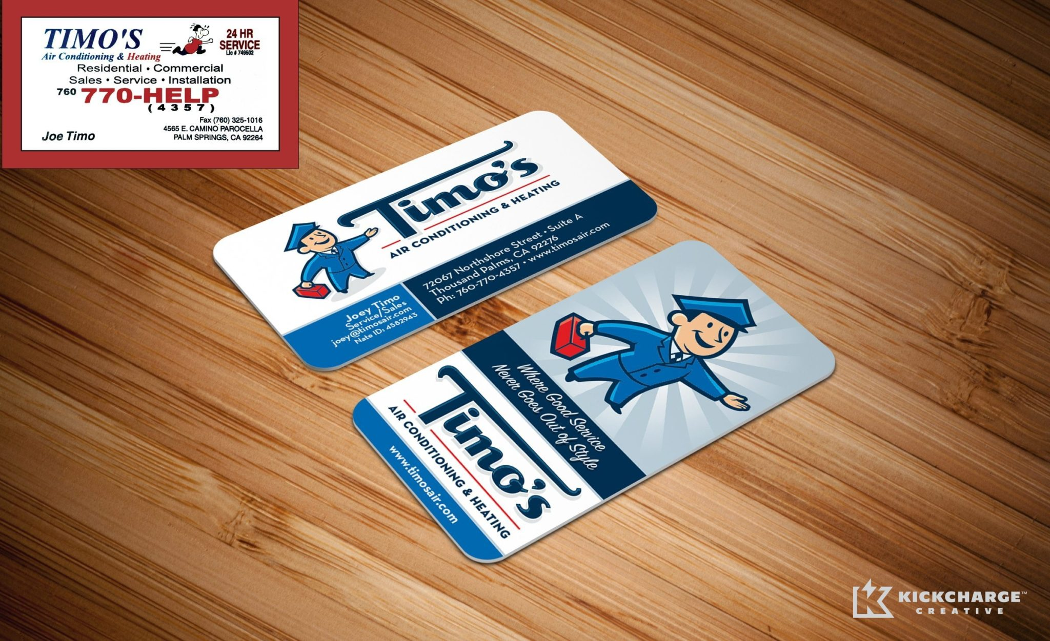 Before & after re-design of business cards for Timo's Air Conditioning & Heating in Thousand Palms, CA.