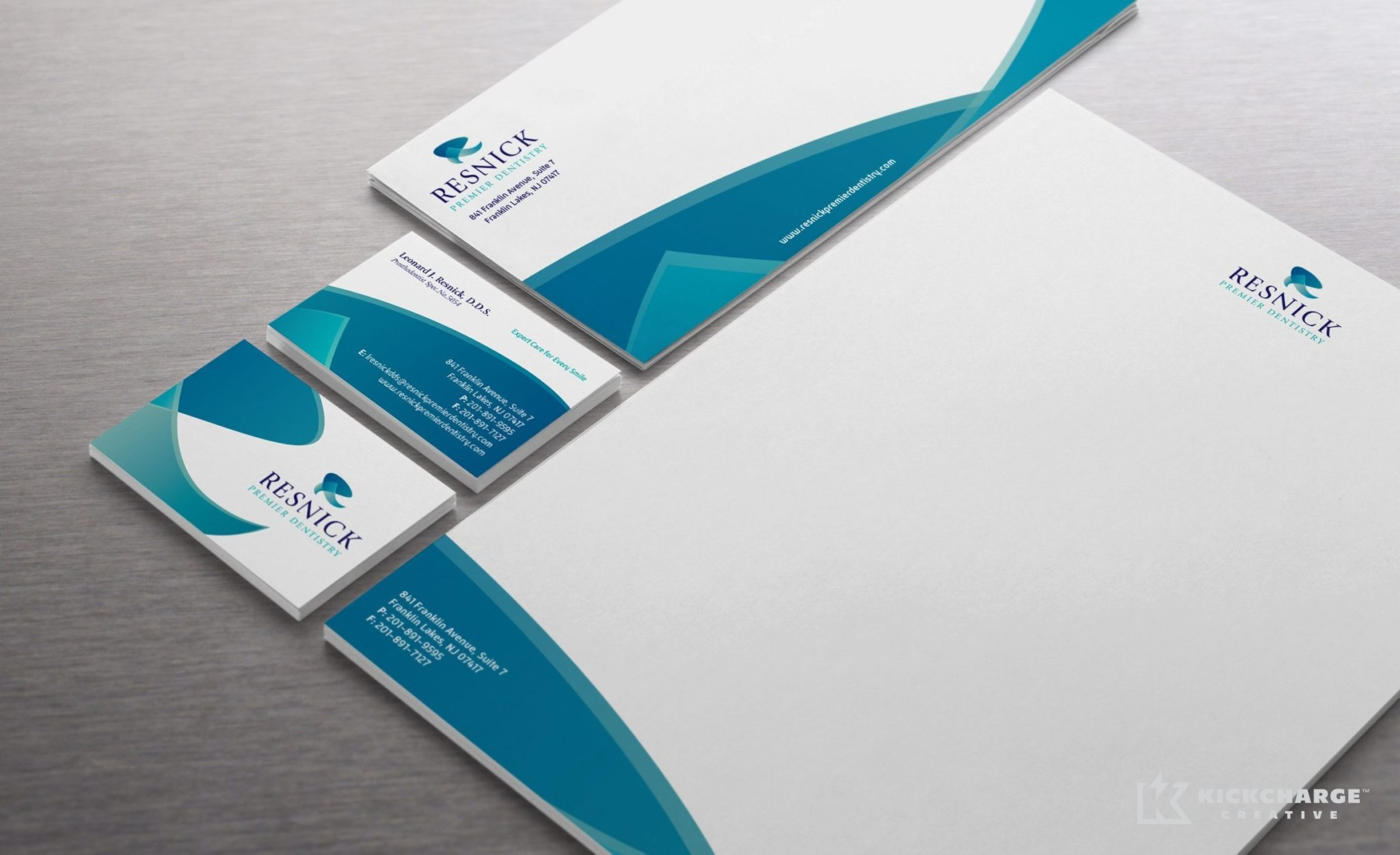 Stationery design and printing for Resnick Premier Dentistry.