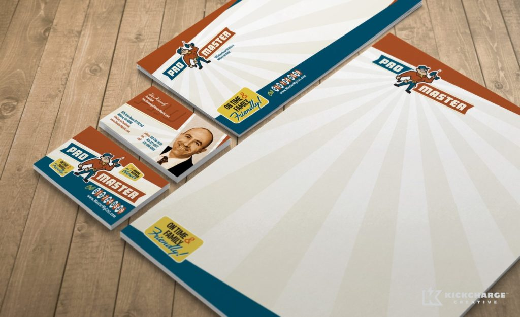 Stationery design, direct mail postcard design and printing for ProMaster Home Repair.