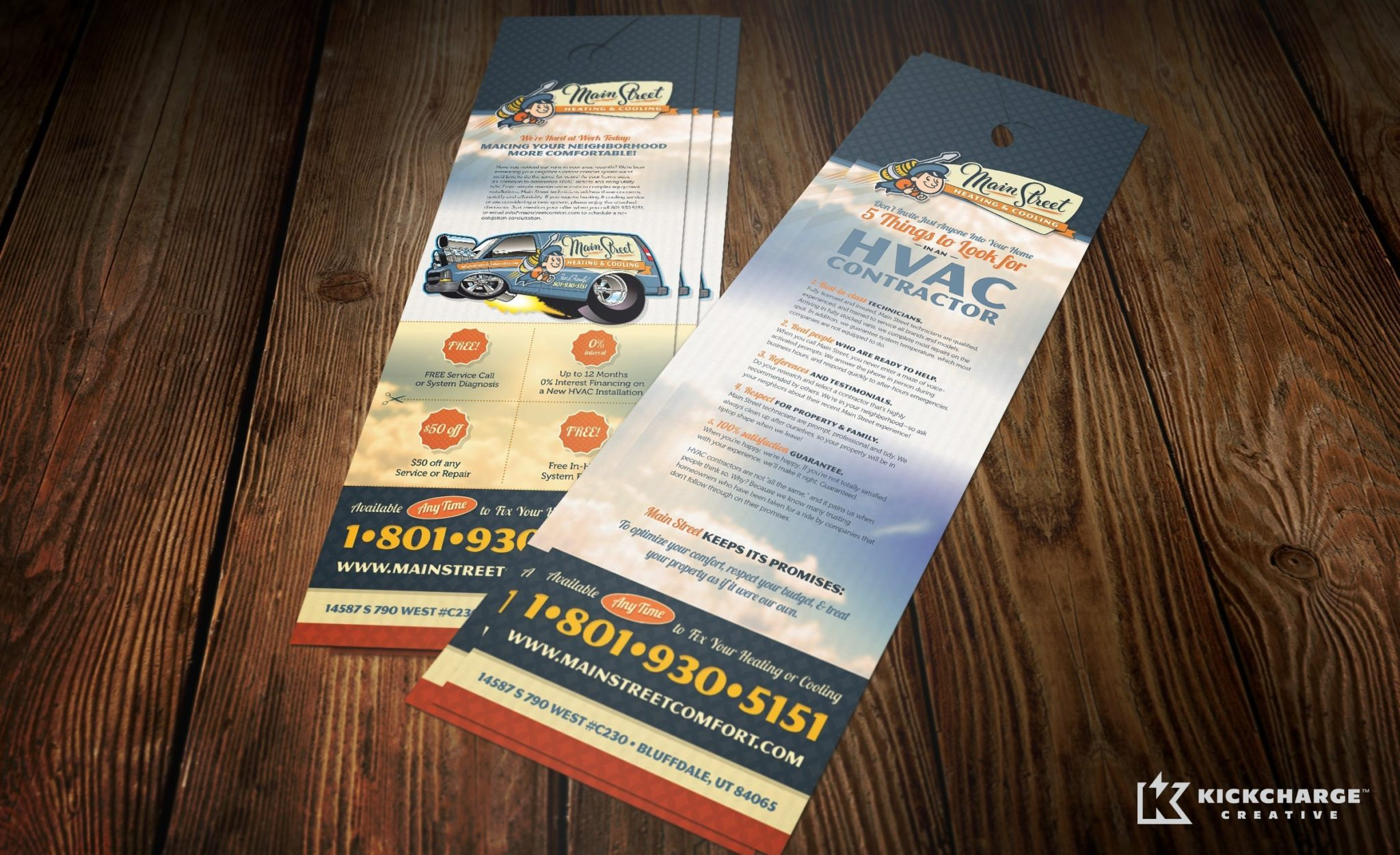 Door hanger design and printing for a HVAC company located in Utah.