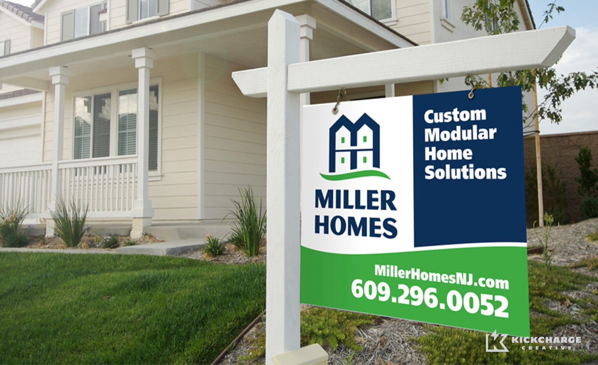 Site sign design and brand implementation for Miller Homes.