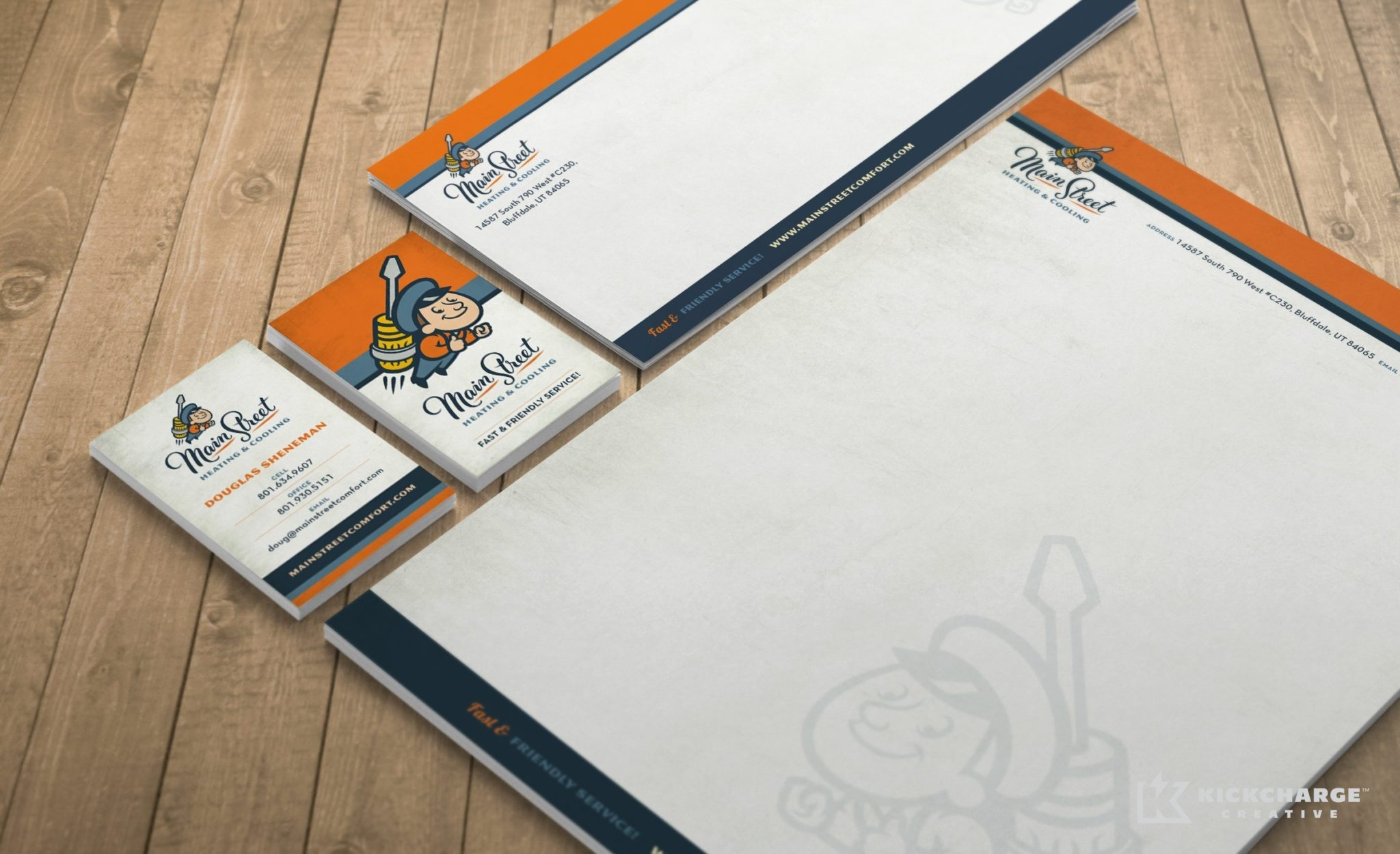 Stationery design and printing for Main Street Heating & Cooling.