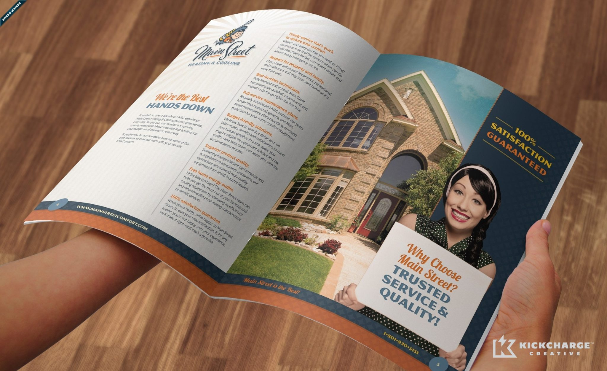12-page brochure design, layout, copywriting and printing for Main Street Heating & Cooling.