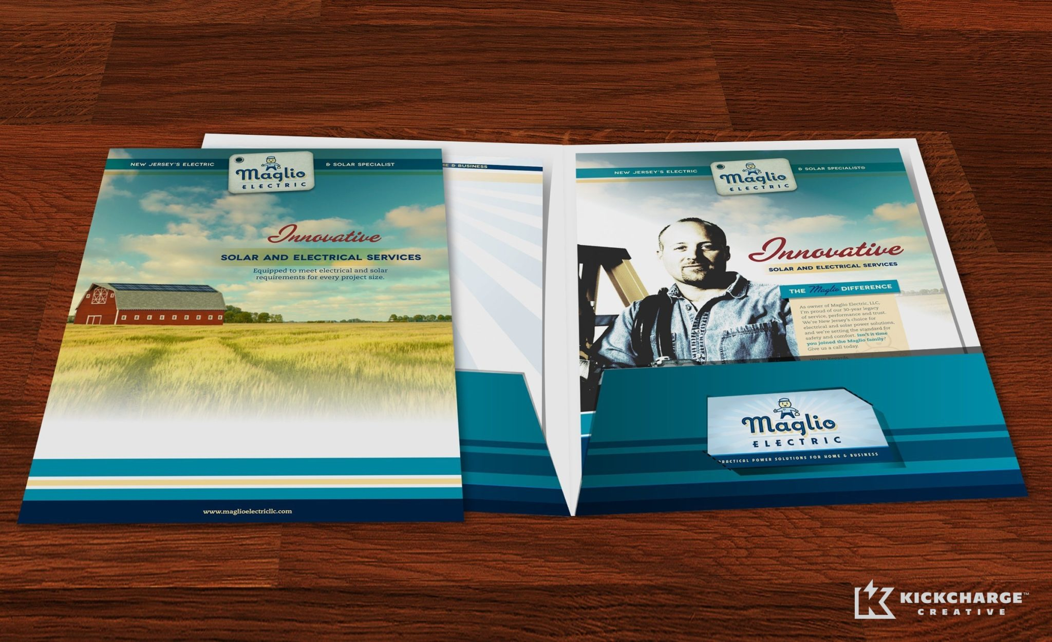 Pocket folder design and printing for this NJ-based electrical company.