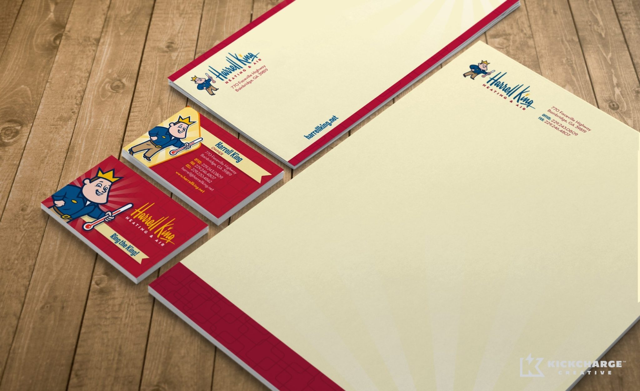 Stationery design and printing for Harrell King Heating & Air.