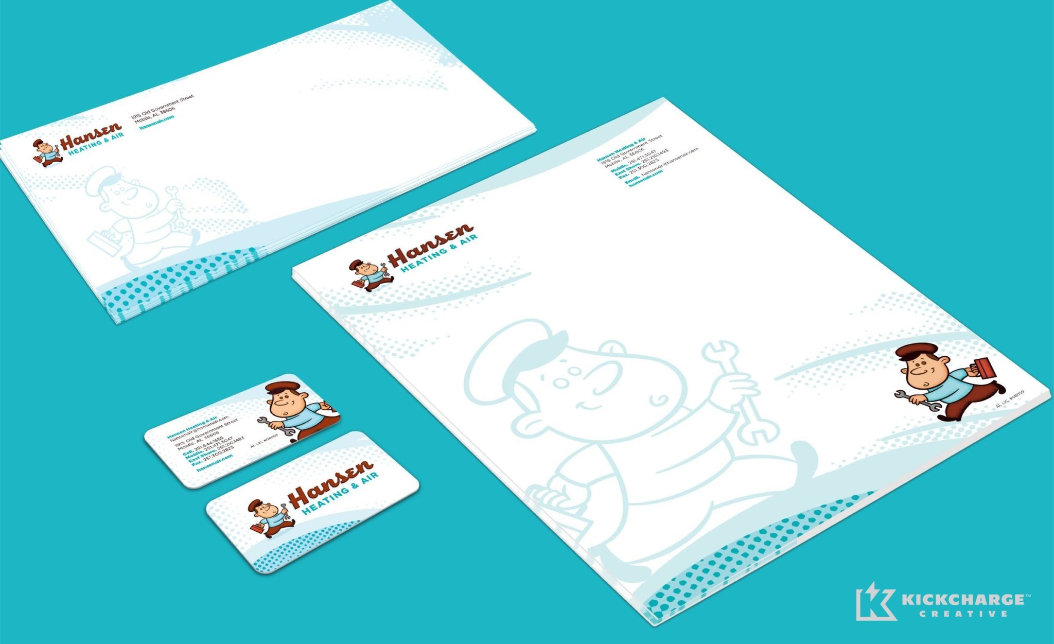 Stationery design for Hansen Heating & Air.