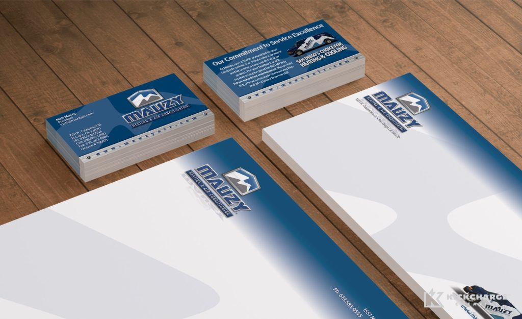 Collateral and stationery design for Mauzy Heating, Air & Solar.