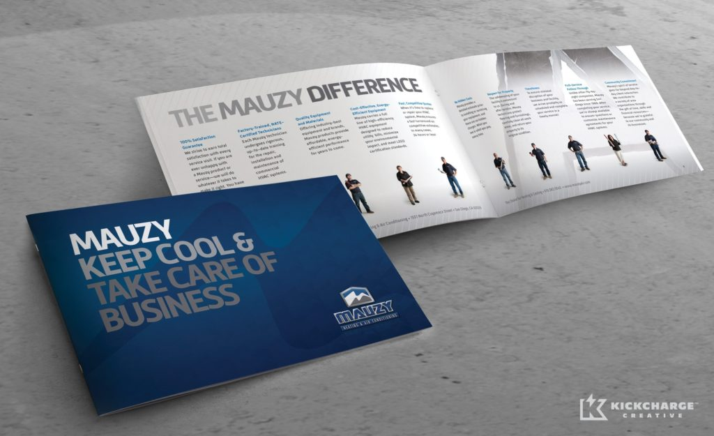 Collateral and brochure design, copywriting and printing for Mauzy Heating, Air & Solar.