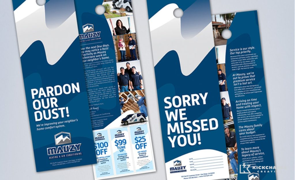 Door hangers design, copywriting and printing for Mauzy Heating, Air & Solar.