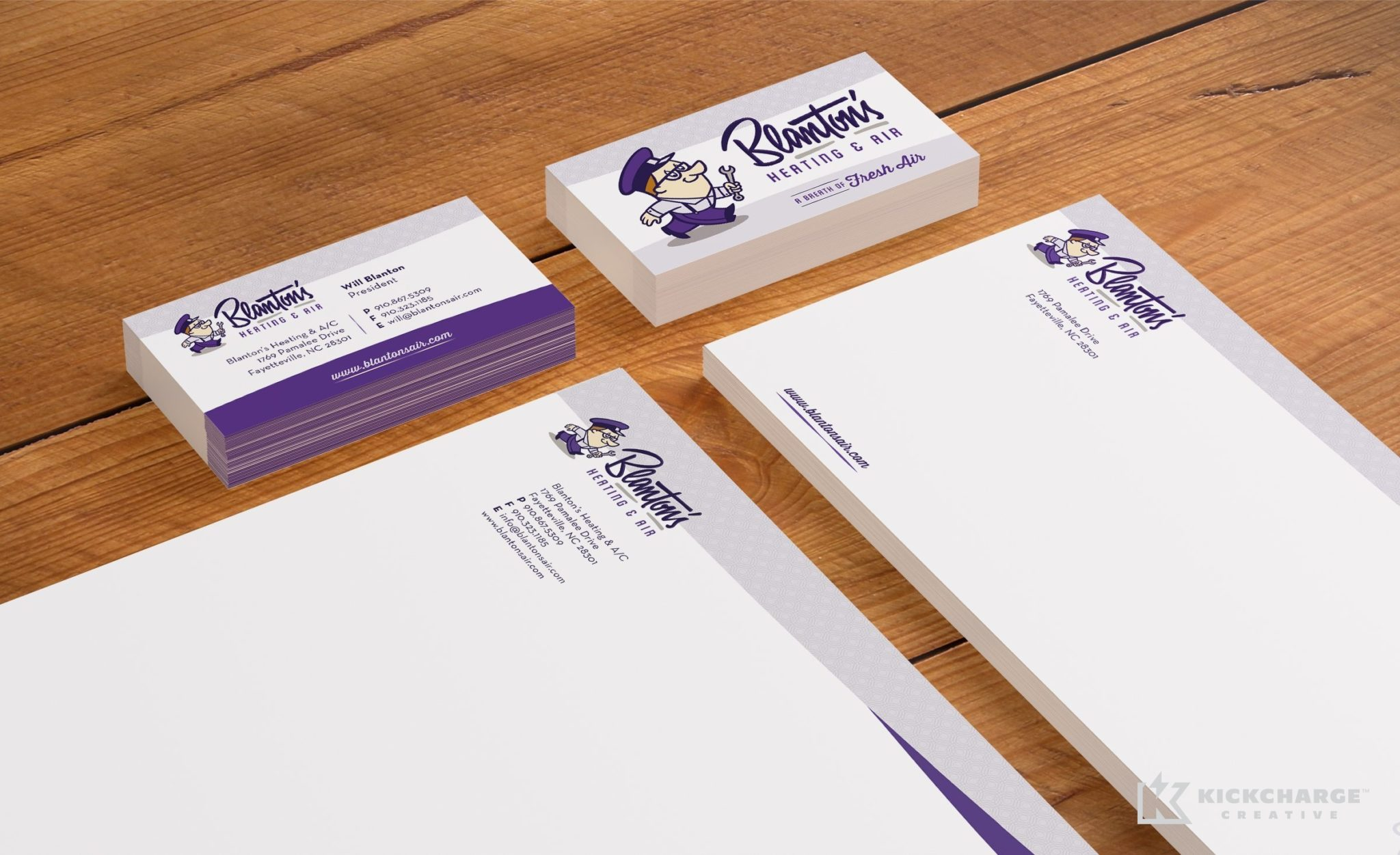 Stationery design and printing for Blanton's Air, Plumbing & Electric.