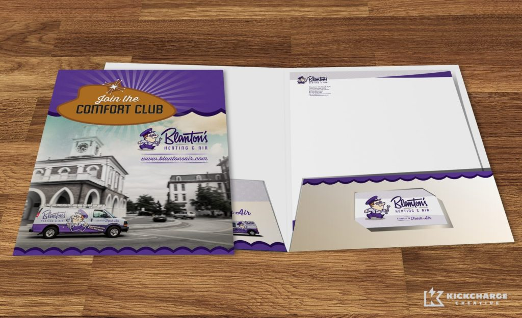 Presentation folder design and printing for Blanton's Air, Plumbing & Electric.