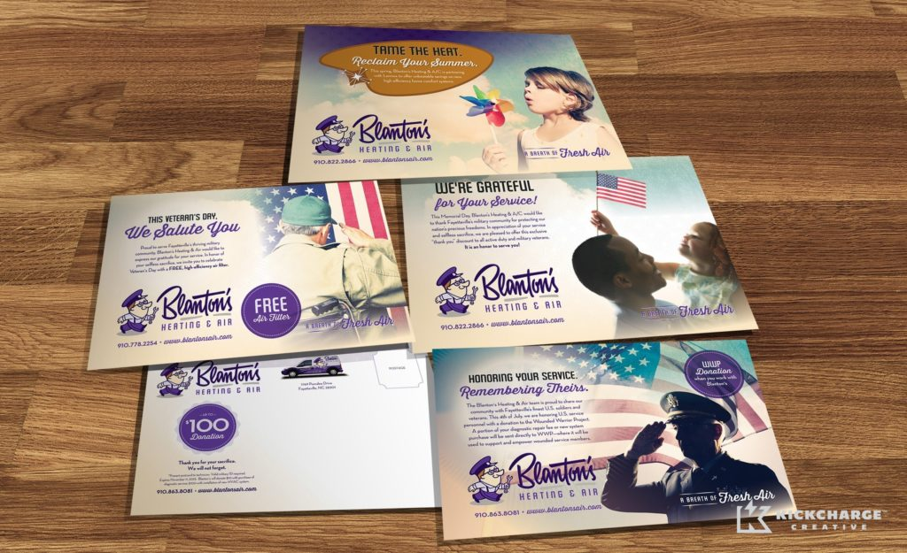 Direct mail postcard design for heating and air conditioning company in Fayetteville, NC.