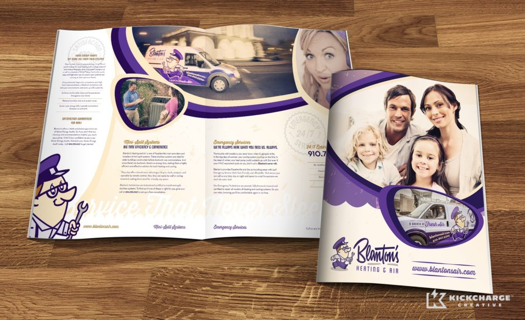 Brochure design for heating and air conditioning company in Fayetteville, NC.