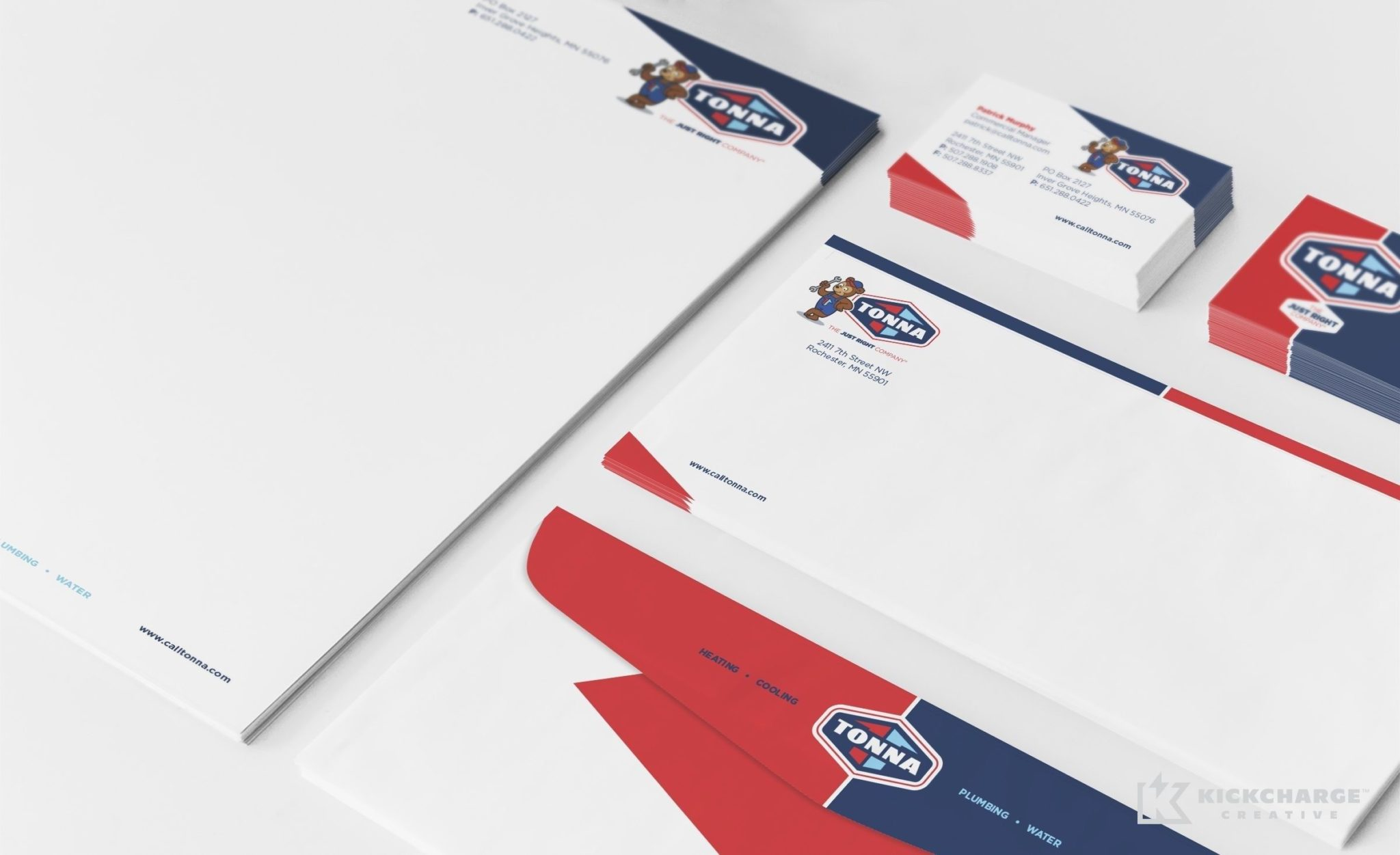 Stationery design for Tonna Mechanical, a Minnesota-based HVAC & plumbing company.