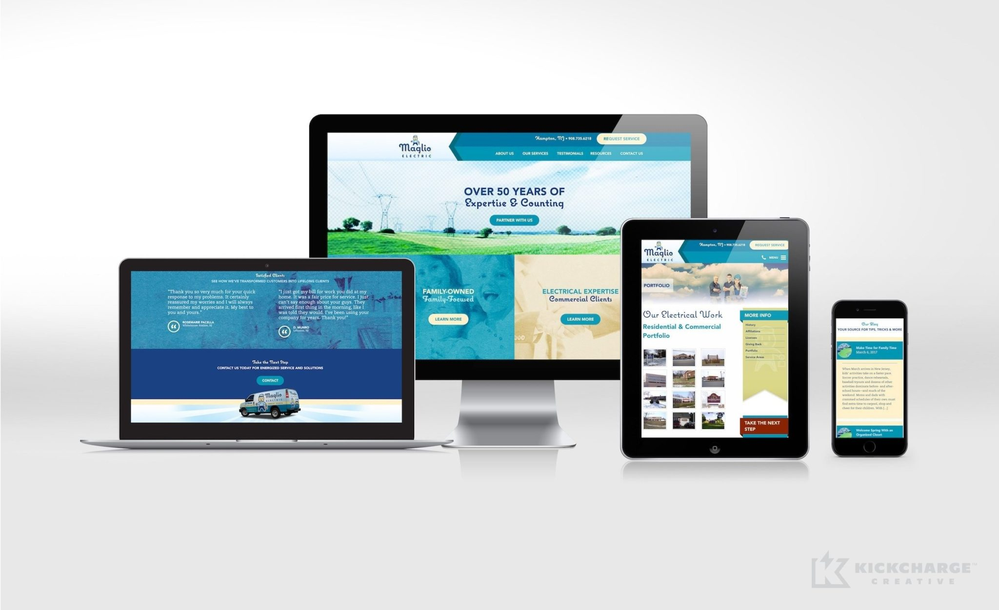 Website design and development for Maglio Electric.