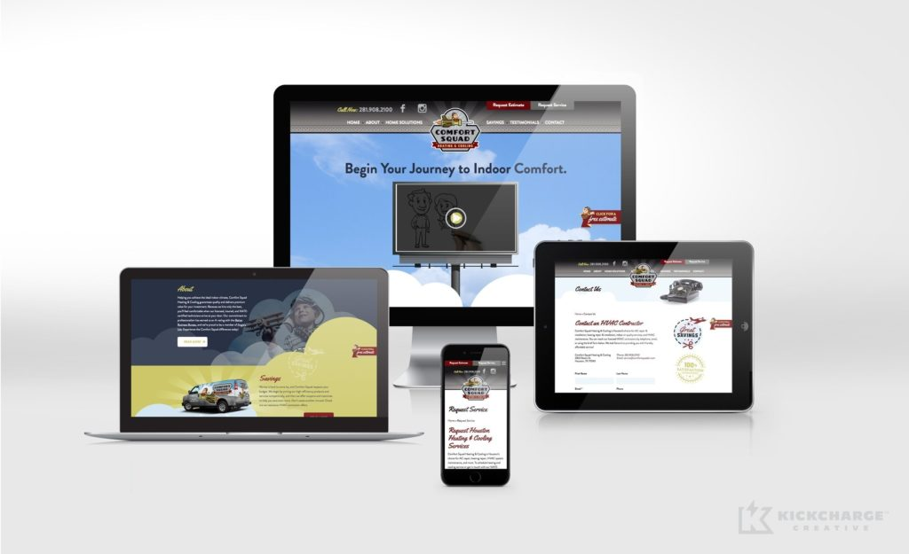 Responsive website design and development for Comfort Squad Heating & Cooling.